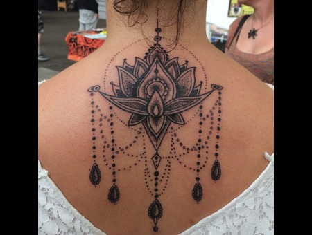 Lotus Mandala Dotwork Ornamental Black Grey Back