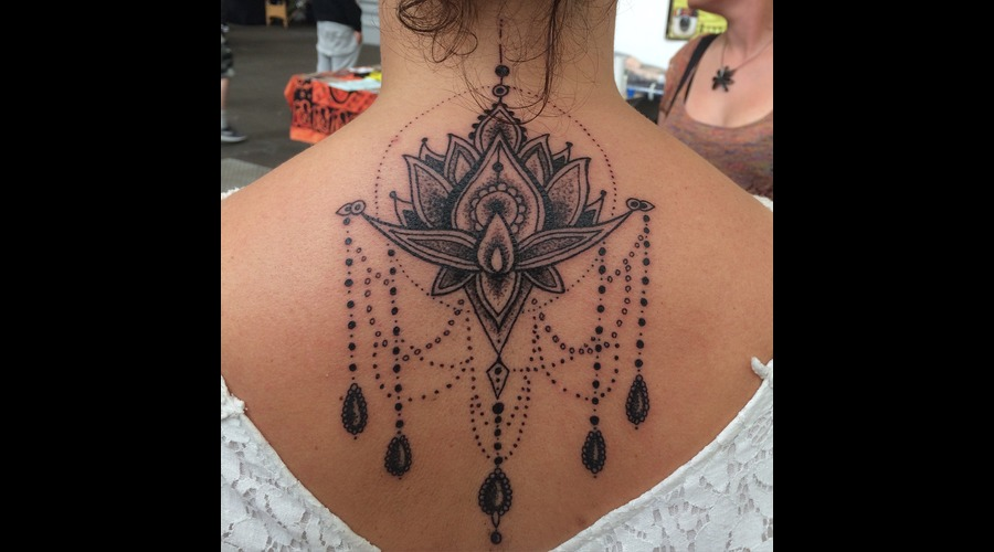 Lotus Mandala Dotwork Ornamental Black Grey Back
