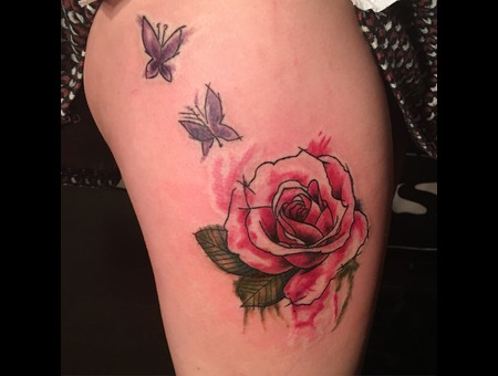 Water Colour Rose Butterflies  Color Thigh