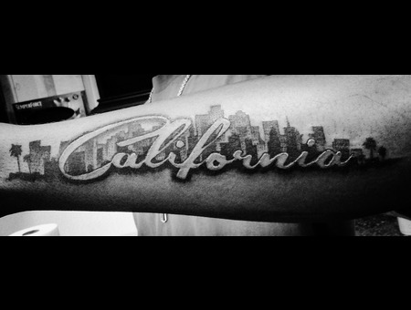 California  Lettering  Black Grey Forearm