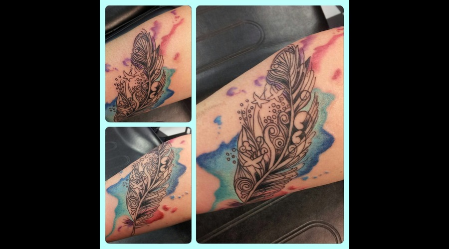 Feather Watercolour  Color Forearm