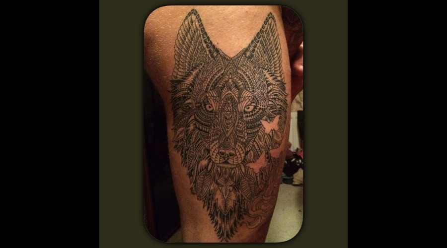 Wolf Dotwork Pattern Work Black Grey Thigh