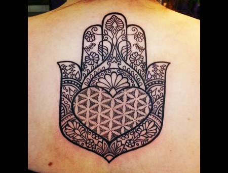 Hamsna Hand Dotwork  Black Grey Back