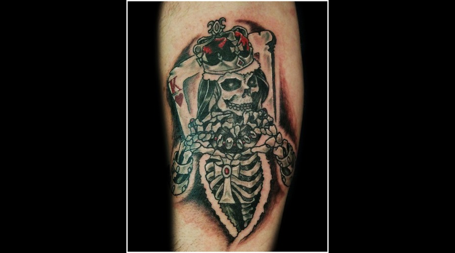 King  Hearts  Heart  King Of Heart  Skull  Skeleton Color Forearm
