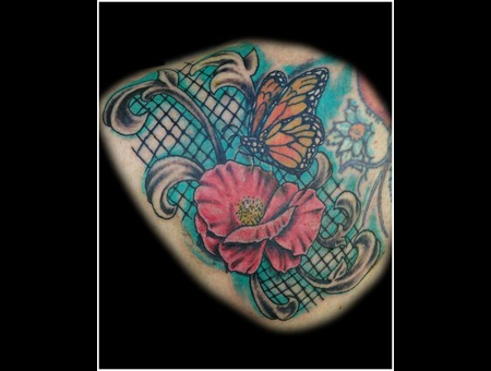 Flower  Butterfly  Filigree   Color Shoulder