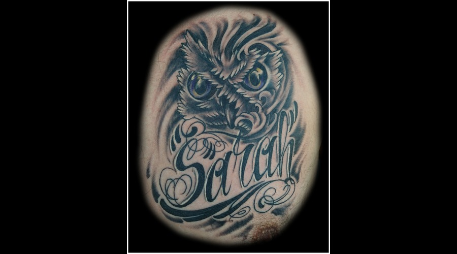 Script  Lettering  Memorial  Owl   Black Grey Chest
