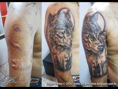 #Coverup  #Wolf Black Grey Arm