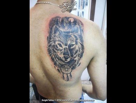 #Wolf  #Dreamcatcher Black Grey Back