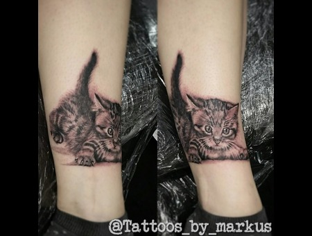 Cat  Cat Tattoo  Kitten  Kitten Tattoo Black Grey Lower Leg