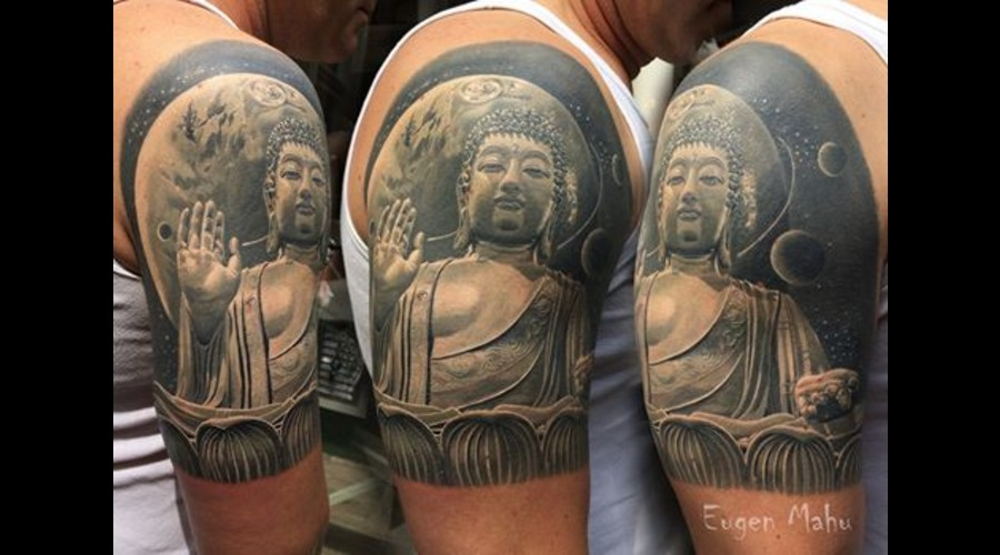 Tattoo  Art  Realistic  Buddha Black Grey Arm