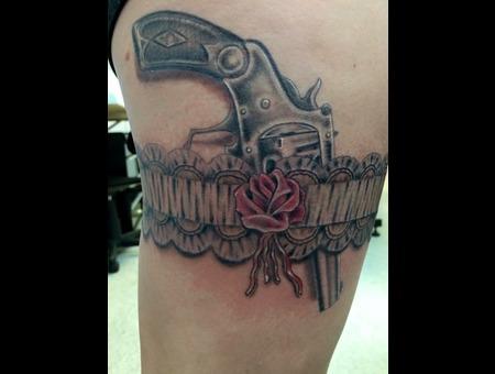 Garter Belt Pistol Woman's Tattoo Lace Sexy Gun Vixen Maiden Revolver Kinky Color Thigh