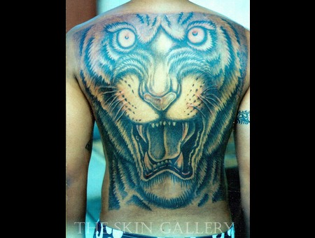 Tiger Back Tattoo Bengal Attack Endagered Cat Jungle Cat Feline Mean Deadly Black Grey Back