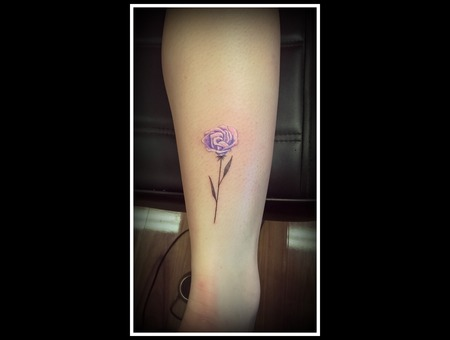 Fine Line  Flower  Rose  Micro  Black Grey Lower Leg