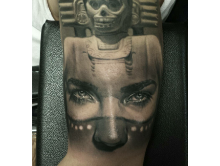 Aztec  Black And Grey  Realism  Eyes  Black Grey Arm
