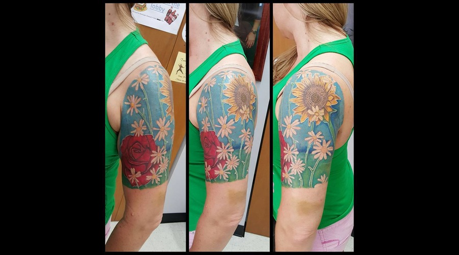 Rose Sunflower Daisy Blue Color Arm