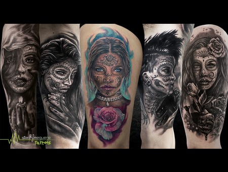 Realistic  Catrina  La Catrina  Faces  Flowers   Color Arm