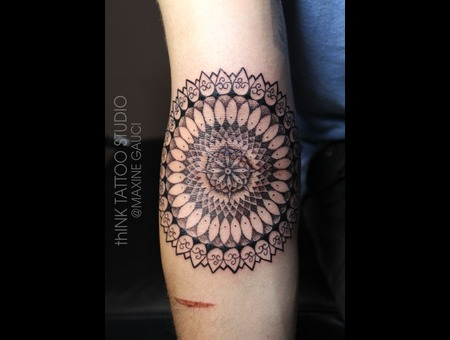 Dot Work Wheel Of Karma  Black Grey Forearm