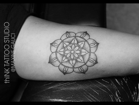 Mandala Tattoo Black Grey Arm