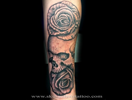 Skull Rose Life Death Wicked Black And Gray Tattoos For Men  Black Grey Forearm