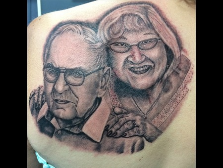 Portraits  Grandparents Memorial Black And Gray  Tattoo  Black Grey Back