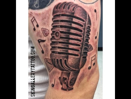 Microphone Music Sing Freedom Of Speech Radio Tattoo Classic The King Vocal Black Grey Arm