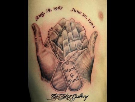 Veteran Military Dogtags Offering Hands Memorial Tattoo Purpleheart Hero  Black Grey Ribs
