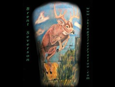 Deer Wildlife Whitetail Wisconsin Tattoo Buck Rut Rack Antlers Cover Up Color Thigh