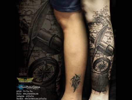 Compass   Vintage Map Cover Up Tattoo Done By Pit Fun   Instagram : Pitfunf Black Grey