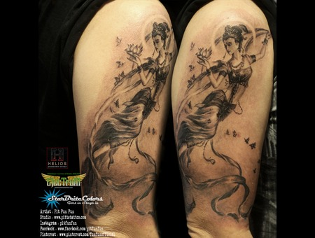 Guan Yin Tattoo Done By Pit Fun   Instagram : Pitfunfun Black Grey Arm