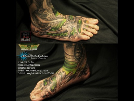Free Hand Bio Organic Tattoo Done By Pit Fun   Instagram : Pitfunfun Color Foot