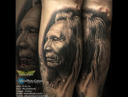 American Native Apache Portrait Done By Pit Fun   Instagram : Pitfunfun Black Grey Lower Leg