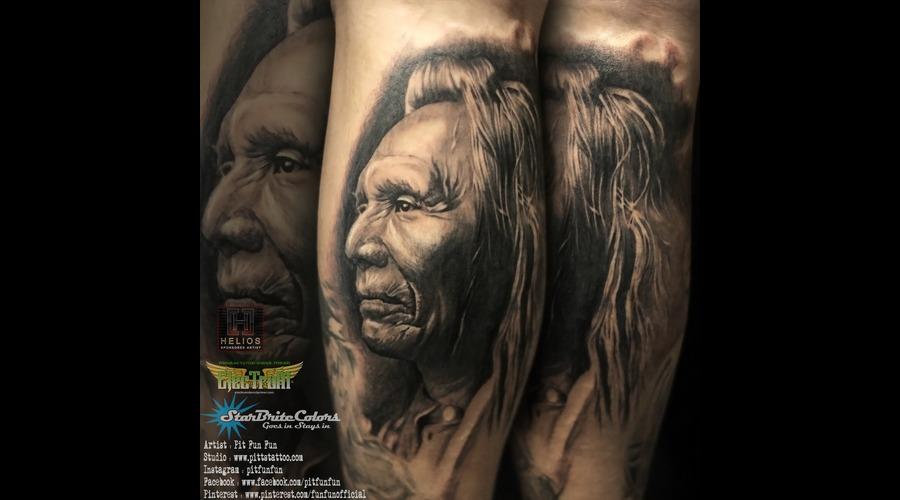 American Native Apache Portrait Done By Pit Fun   Instagram : Pitfunfun Black Grey Lower Leg