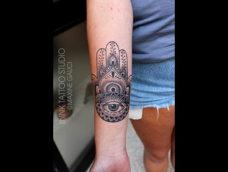 Hamsa Tattoo Black Grey Forearm