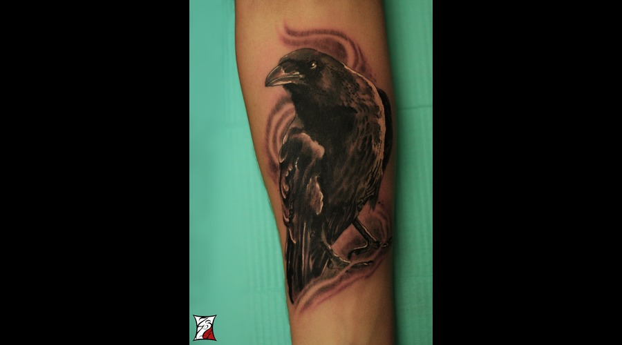 Raven Tattoo  Montreal  Gabor Zsil Black Grey Arm