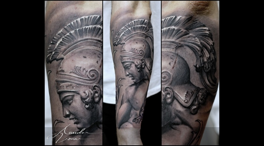 Achilles  Helmet Black Grey Forearm