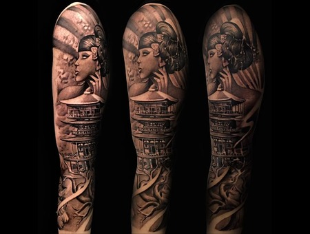 Genisha Asian Sleeve Black Grey Arm