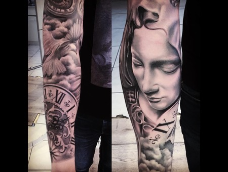 Madonna  Marie  Holy  Catholic  Old  Clock  Dove Clouds Sky  Compass Antiqu Black Grey Forearm