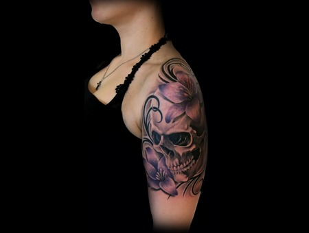 Skull  Flowers  Tribal  Woman Color Arm
