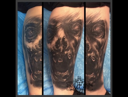 Realistic Horror Monster Dark Black Grey Lower Leg