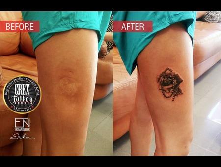 Erkan  Nehir  Tattoo  Artist  Dövmeci  Marmaris  Turkey Black Grey Thigh
