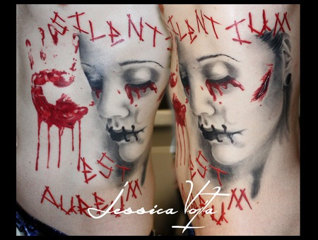 Trash  Woman  Blood  Hand  Scar  Stitched Black Grey Ribs