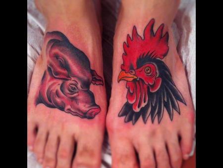 Sin Or Swim. Rooster  Pig Color