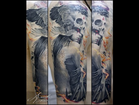 Healed  Girl  Skull  Wings Color Shoulder
