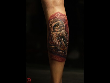 Tattooartist Canada  Montreal Gabor Zsil Color Lower Leg