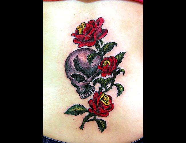 Skull  Rose  Roses  Color  Black&Grey  Traditional Color