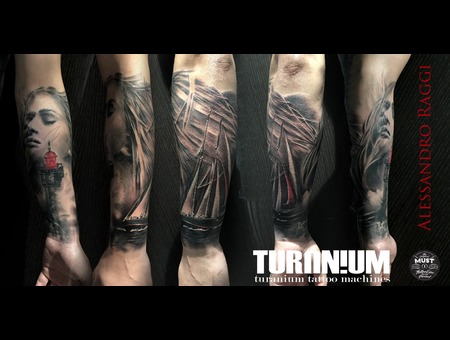 Wind Sea Realistic Black & Gray Light House Italy Tattoo Bit Of Color Black Grey Forearm