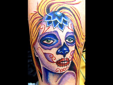 Mask  Day Of Dead  Sugar Skull  Color  Arm Tattoo   Color