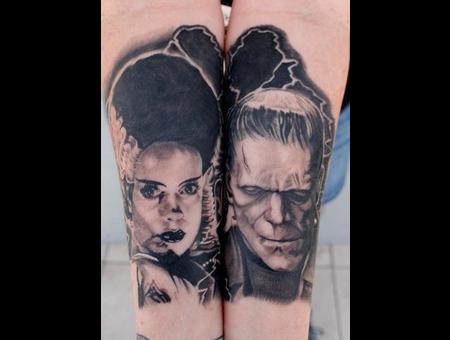 Frankenstein  Bride Of Frank  Protrait  Black And Grey Black Grey Forearm