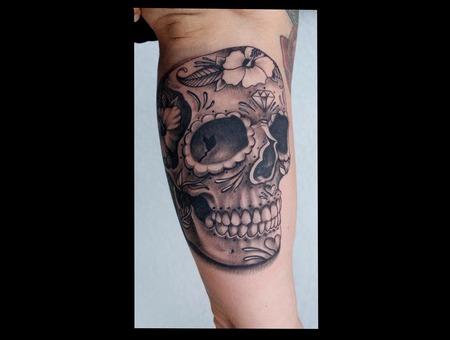 Sugar Skull  Filigree  Black And Grey Black Grey Arm
