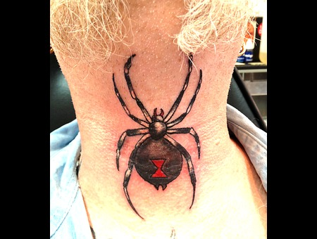 Neck Tattoo  Spider  Black Widow  Throat Tattoo Color